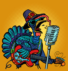 thanksgiving turkey character singer holiday vector image
