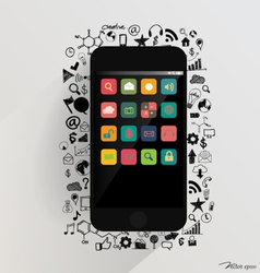 Touchscreen device with application icon vector