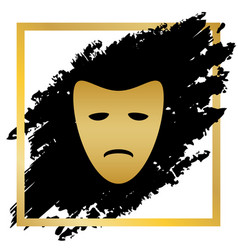 Tragedy theatrical masks golden icon at vector