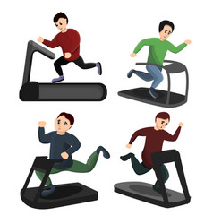 treadmill icons set cartoon style vector image