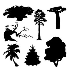 tree silhouettes set vector image