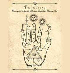 Vintage palmistry symbols on hand vector