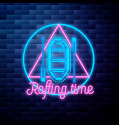 Vintage rafting emblem glowing neon sign vector