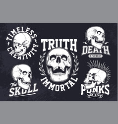 vintage skulls emblems set vector image