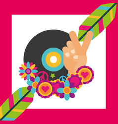 Vinyl disc music feathers flowers hippie free vector