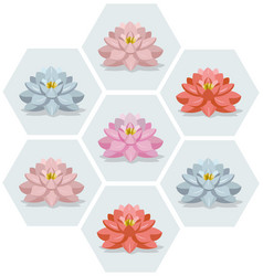 Waterlily flowers set pattern vector