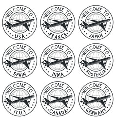 Welcome stamps with plane black set vector