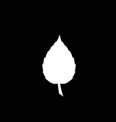 white silhouette of single leaf icon on black vector image