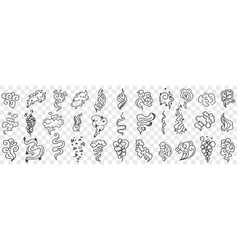 wind and flames shapes doodle set vector image