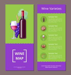 Wine varieties map icons set vector