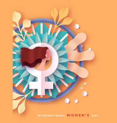 womens day papercut spring flower woman card vector image