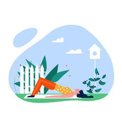 yoga sport summer outdoor activity flat vector image