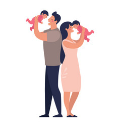 Young parents play with twins happy dad and mom vector