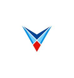 abstract letter v geometry logo vector image
