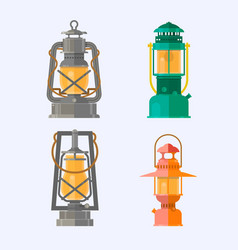 different oil lamp collection retro gas lamps vector image