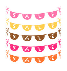 Hand drawn bunting with sale text vector