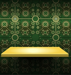 Luxury yellow shelf on green wallpaper vector image vector image