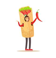 man wearing doner kebab costume fast food snack vector image