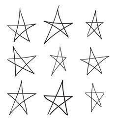 set hand drawn star vector image