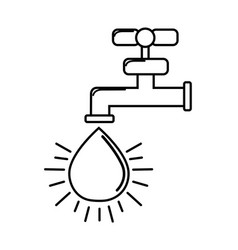 silhouette faucet with drop of water icon vector image vector image