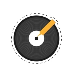 vinyl record lp dotted line vector image