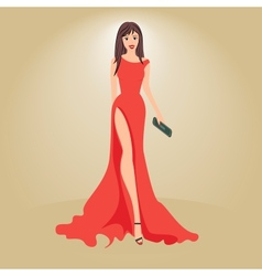 woman in evening dress with a clutch vector image