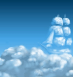 Cloudscape with ship vector image vector image