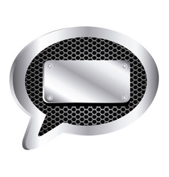 dialog callout with metallic frame grill vector image