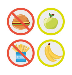 Dont of fast food and yes of diet plan vector