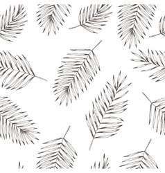 Floral coconut leaves seamless pattern Hand drawn vector image