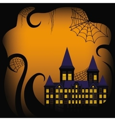 Halloween background border with castle vector image