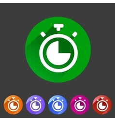 Timer stopwatch clock icon flat web sign symbol vector image vector image