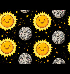cute sun and moon character seamless pattern vector image vector image