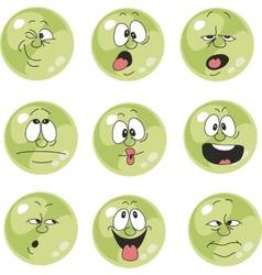 Emotion smiles green color set 009 vector image