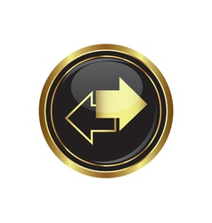 Arrows icon on black with gold button vector image vector image