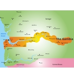 color map of Gambia vector image vector image