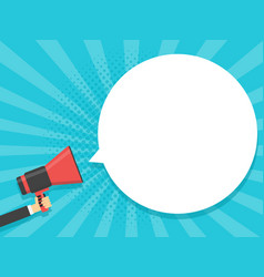 hand hold megaphone comic retro background with vector image