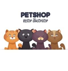 pet shop emblem with kittens design vector image vector image