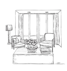 Room interior sketch Hand drawn chairs vector image vector image