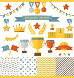 Trophy and winners icons set vector image