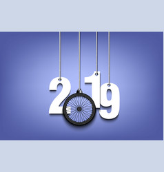 2019 new year and bicycle wheel hanging on strings vector image