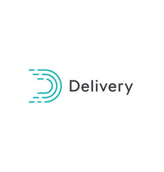 abstract delivery icon turquoice linear letter d vector image