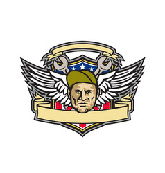 american crew chief shield mascot vector image