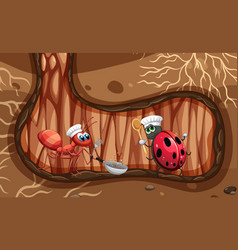 Ant and ladybug cooking underground vector