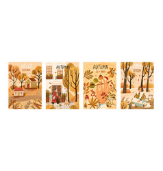 autumn mood hand drawn poster templates set fall vector image