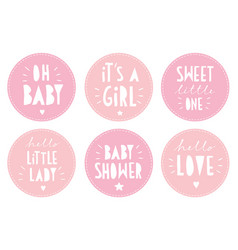 baby shower sticker set round pink tags vector image