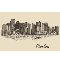 Boston skyline vintage Sketch vector