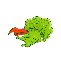 Broccoli character flying super hero vector