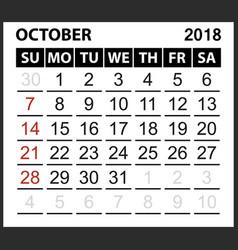 Calendar sheet october 2018 vector