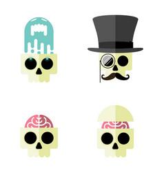cartoon human skull flat icon set four vector image